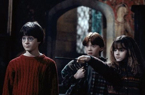 Daniel Radcliffe, Rupert Grint and Emma Watson in Harry Potter in the Chamber of Secrets (Warner Bros.)