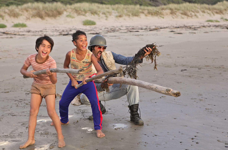 Te Aho Aho Eketone-Whitu, James Rolleston and Taika Waititi in Boy ...