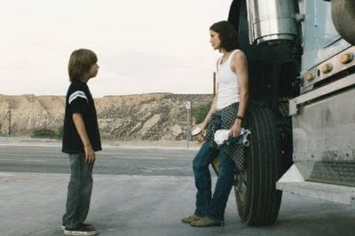 Jimmy Bennett and Michell Monaghan in Trucker