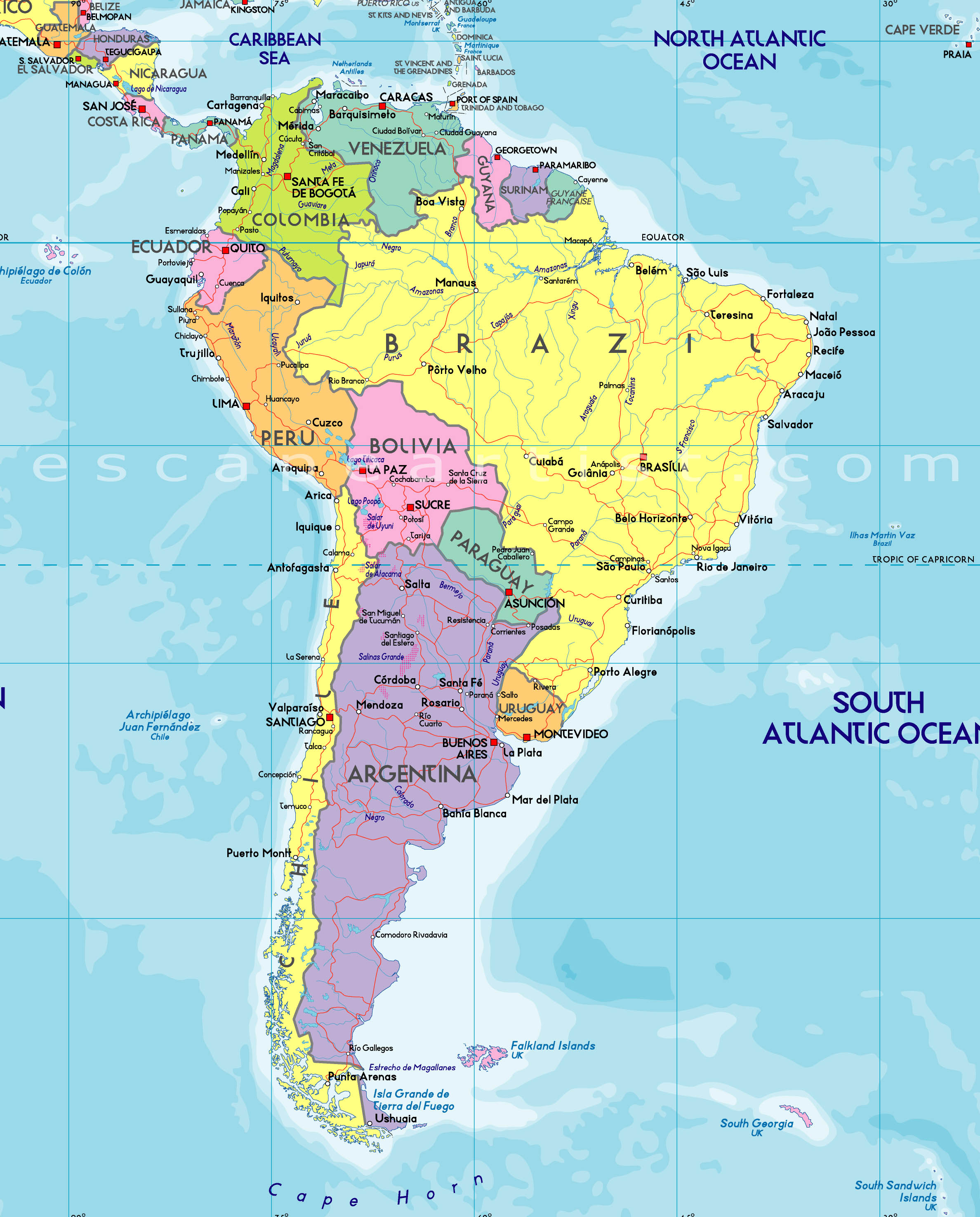 Uruguay Map South America