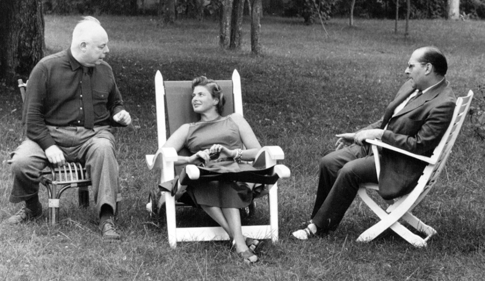 Jean Renoir, Ingrid Bergman and Roberto Rossellini